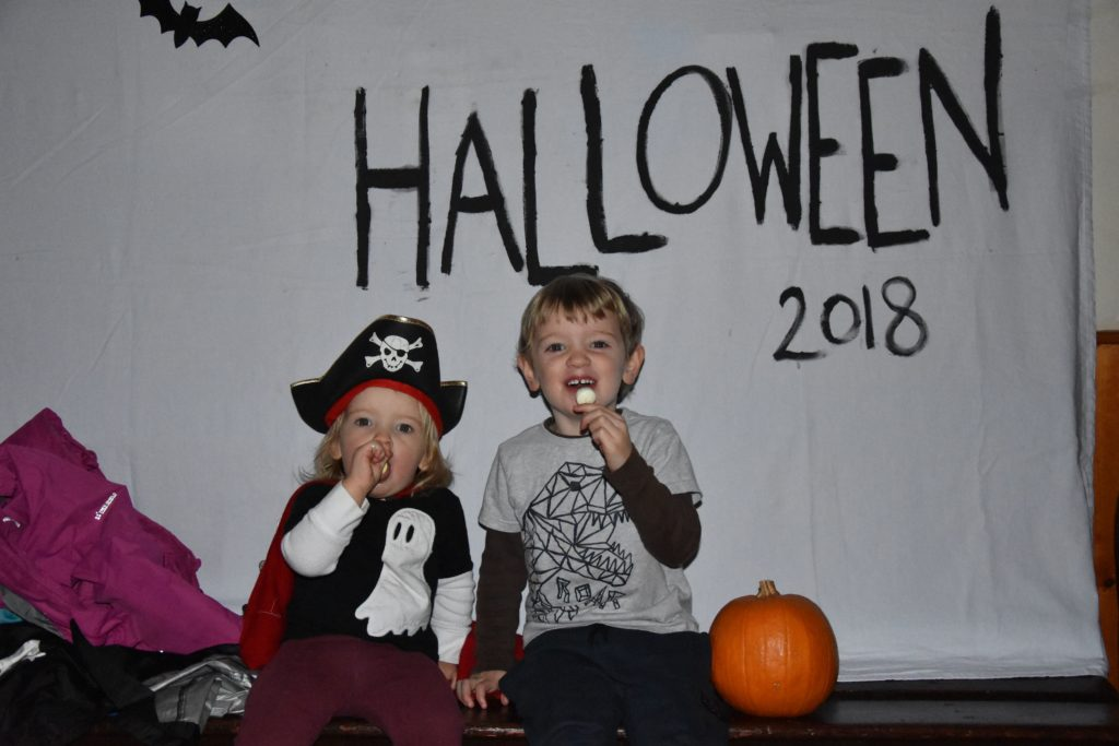 Mureann and Georgie Stewart enjoy their Hallowe'en snacks. Mureann dressed as a pirate while Georgie who celebrates his birthday on Hallowe'en dressed as himself.