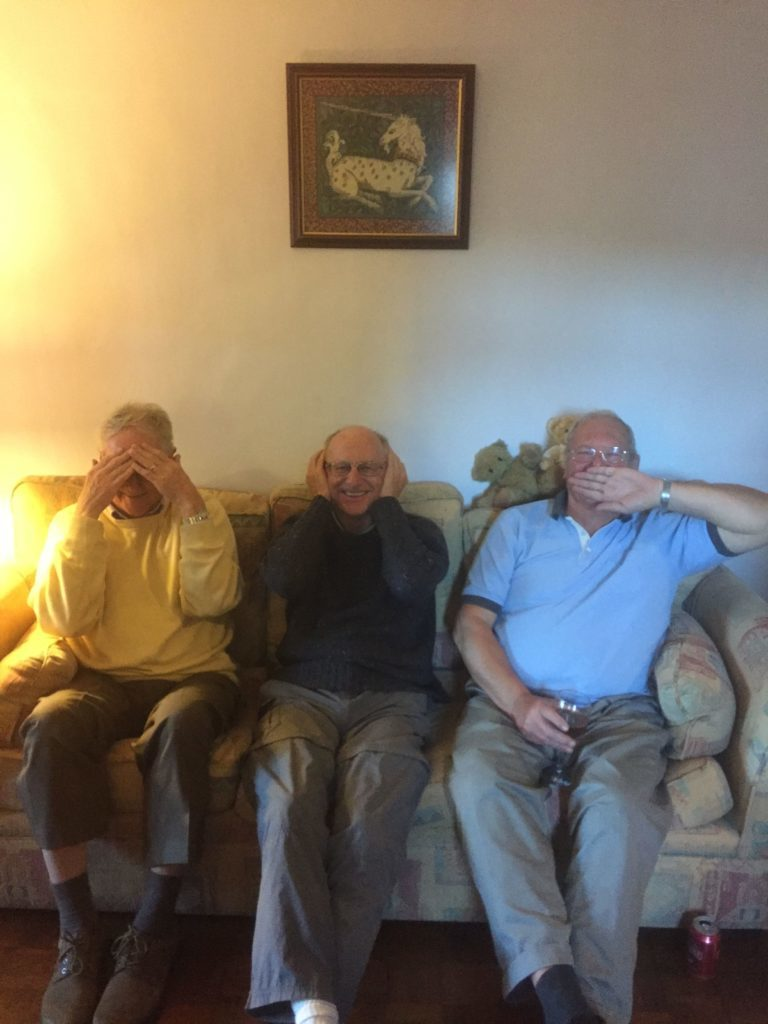 Bowlers having a lark about, Peter 'see no evil' Harper, David 'hear no evil' Price and David 'speak no evil' Brambles.