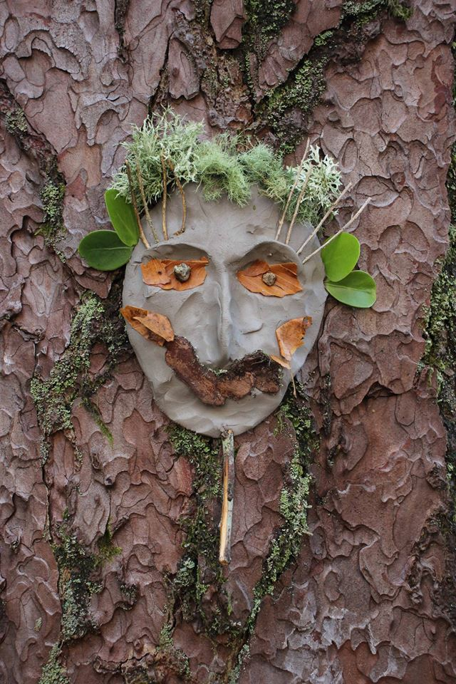 Tree art at Brodick Castle Country Park adorned with leaves, twigs, bark and lichen. Photograph: Kate Sampson.