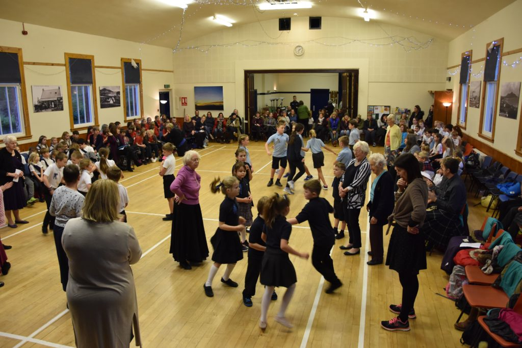 Whiting Bay Hall is filled with pupils, teachers and parents during the day of dance.