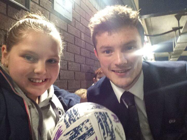 Meeting her heroes, Daisy gets to meet international rugby union and Glasgow Warriors player George Horne.