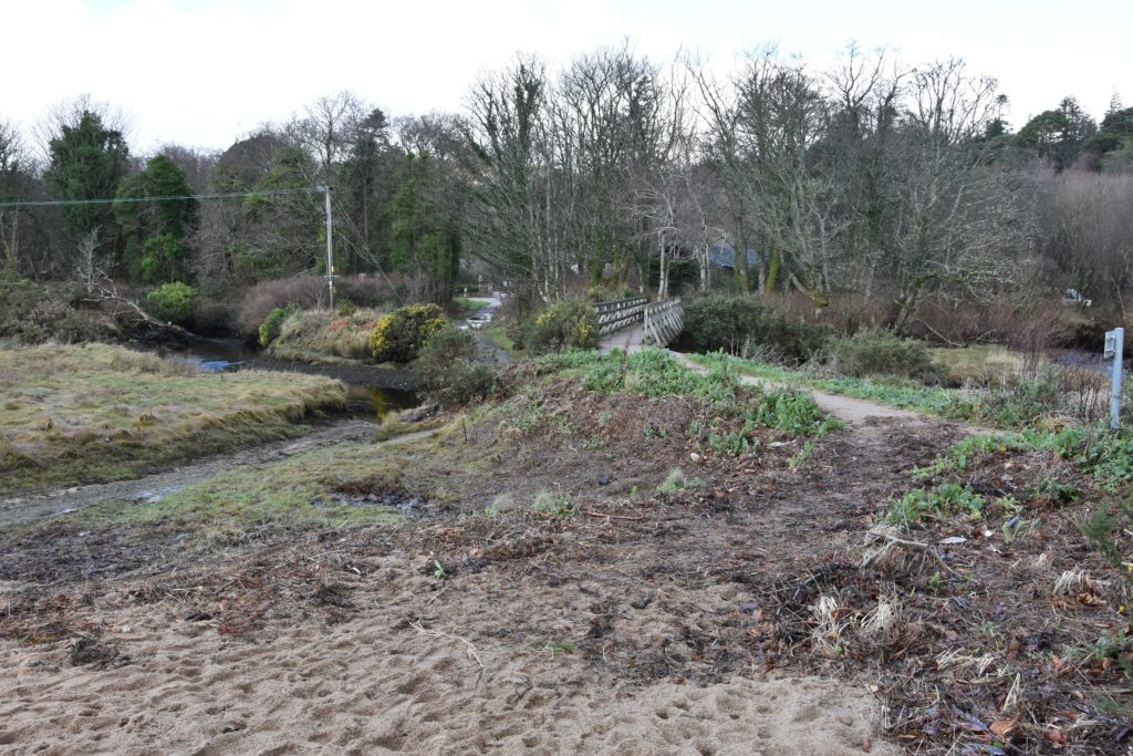 The Fisherman's Walk entrance at Cladach shows evidence of repeated flooding, kelp deposition and erosion.