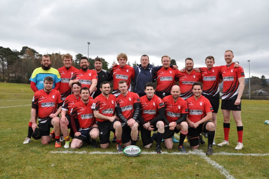 APRIL - The reformed Isle of Arran Rugby Club pose for a team photograph prior to kick-off at the annual rugby festival held at the Ormidale Park.