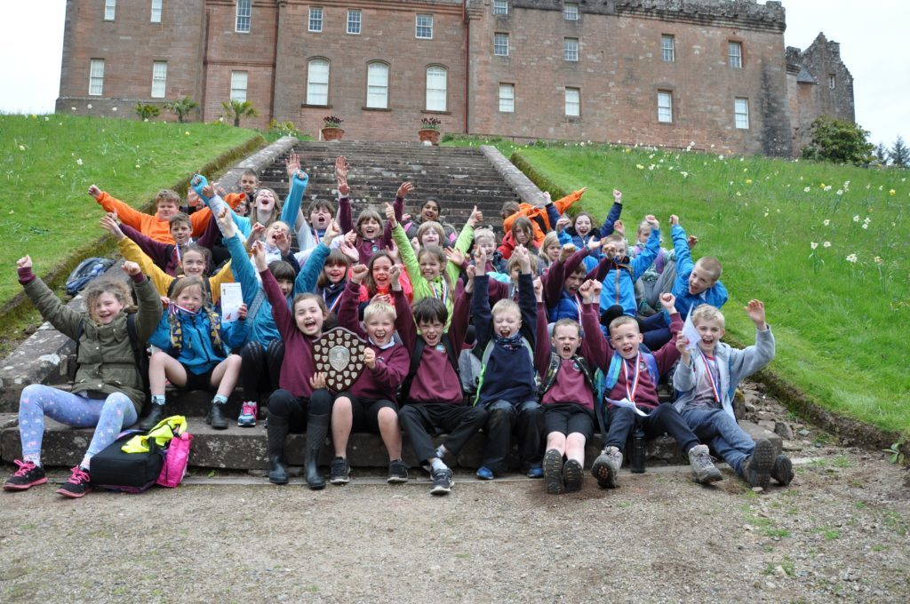 JUNE - Whiting Bay Primary pupils show their delight at winning the Arran Orienteering Championship.