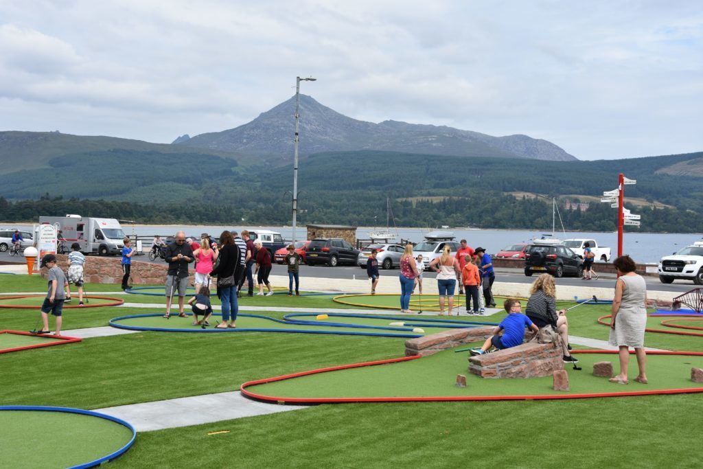JULY - Brodick's iconic attraction, the new mini-golf course has been put to good use by visitors and locals.