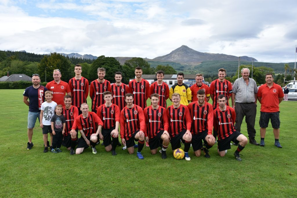 AUGUST - Newly formed Isle of Arran AFC pictured with sponsors for their first historic home game at Ormidale pavilion.