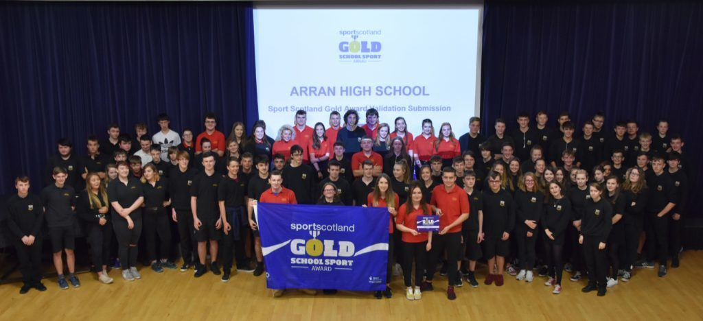 OCTOBER - Arran High School pupils were delighted to once again receive a Sports Scotland Gold Award for demonstrating a high standard of sporting ability and opportunities.
