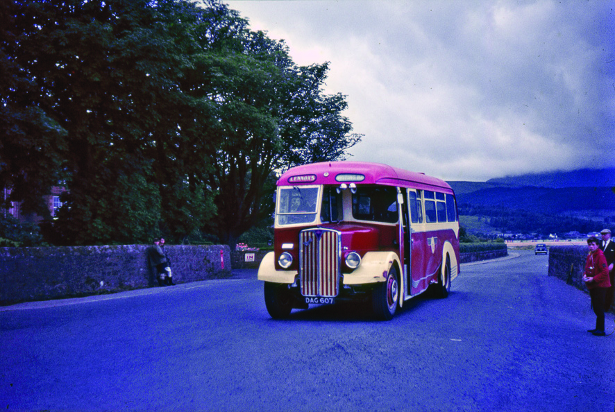 An AEC Regal 111, built by Prestwick-based Scottish Aviation Ltd, and belonging toLennox Transport leaving Brodick on the 9.20am service to Whiting Bay on 26 July 1965.