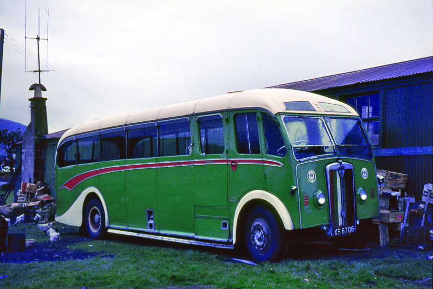 An uncommon Maudslay Marathon 111 built in 1949 by Brockhouse of Clydebank in Bannatyre Motors colours but photographed in its final role as a shed as Shiskine Post Office. It features the 'Bannatyne thistle' which was derived from a toffee manufacturer's wrapper.