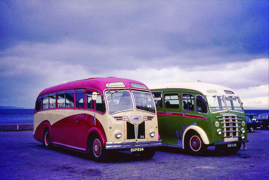 The first  of the Albion Victors which ended up in the Bannatyne Motors fleet (right) photographed at Brodick Pier beside one of Lennox Transport's three Duple bodied models, probably in 1965.