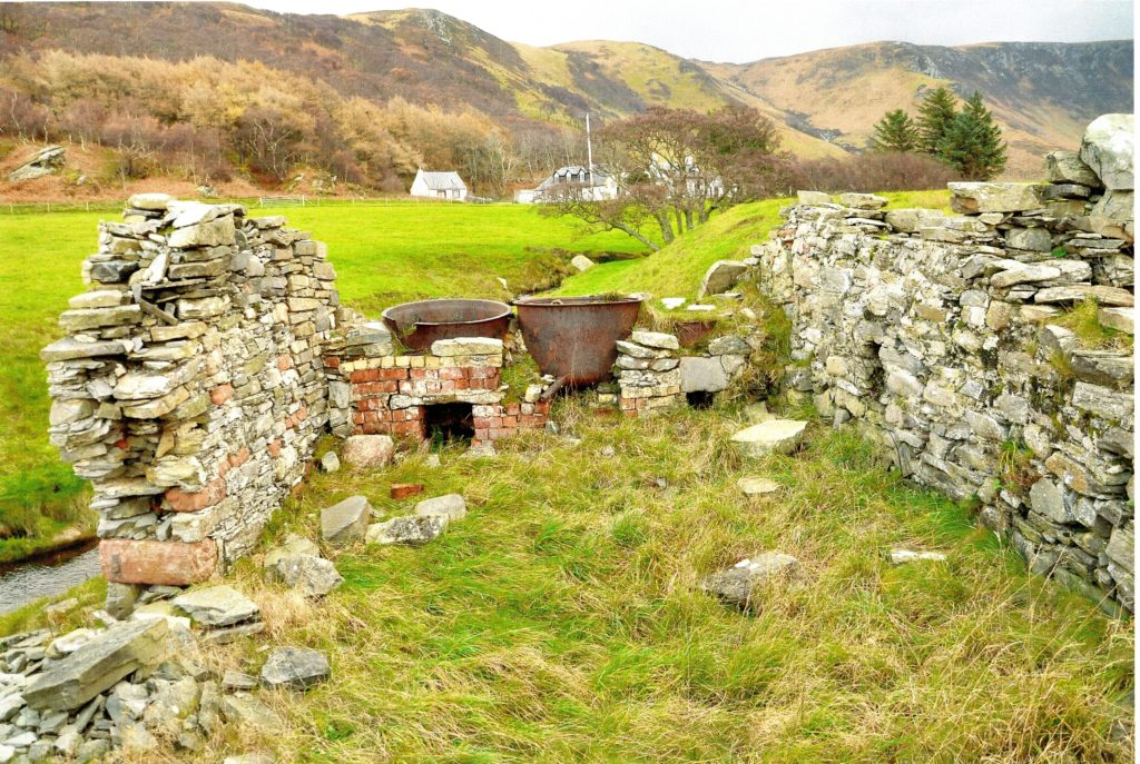 Remains of the barking sheds to be found in Catacol and Lochranza.