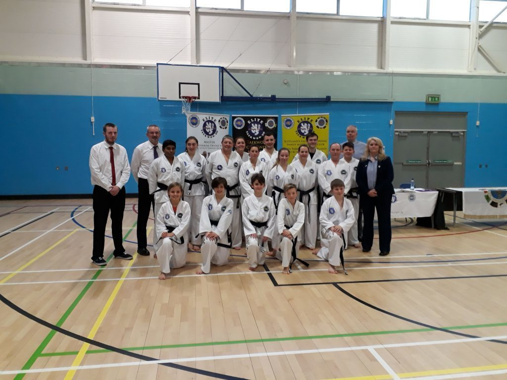 JANUARY - Joining students from all over Scotland, Nastassja Alberti and Patryk Gwizdowski both of Whiting Bay received their  black belt grading after a rigorous assessment at Dalkeith.