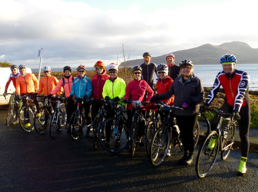 DECEMBER - Members of the Arran Belles, Arran MTB's and the Arran Velo Club met in Lamlash for their annual Christmas ride-out.