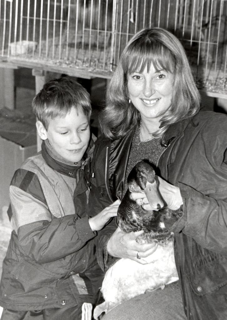 John McGuiness with his mother Liz who have recently moved to Monyquil and who were delighted to have won prizes for their geese at the Chookie Show.