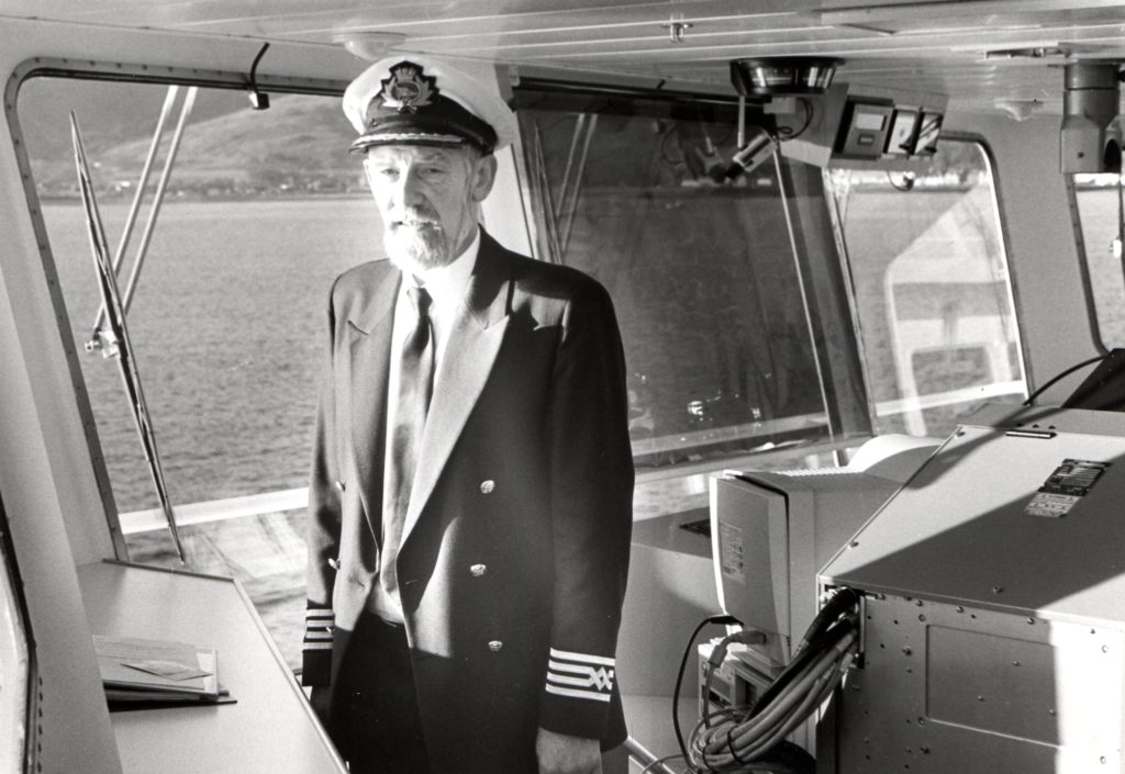 Captain Ian Dewar is pictured on the bridge of the MV Clansman during a special Clyde cruise chartered by the Clyde River Steamer Club.
