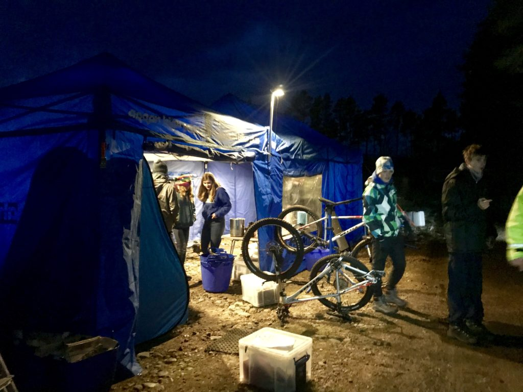 Arran riders prepare for one of the night stages.