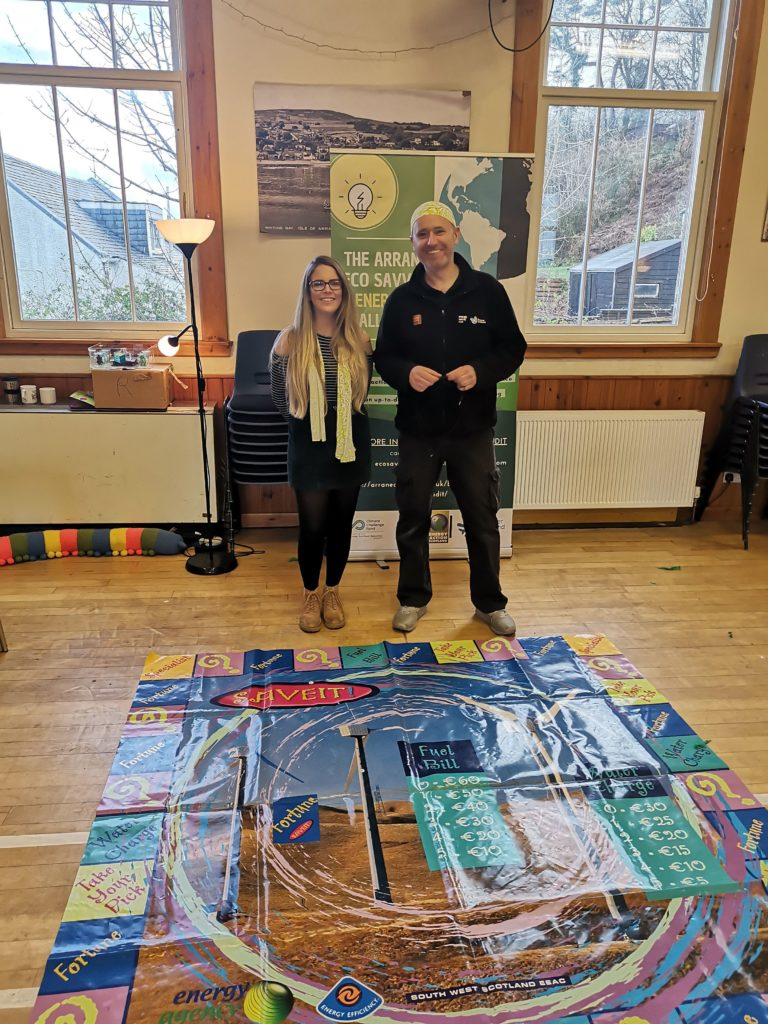 Eco Savvy volunteers show off their energy monopoly board.