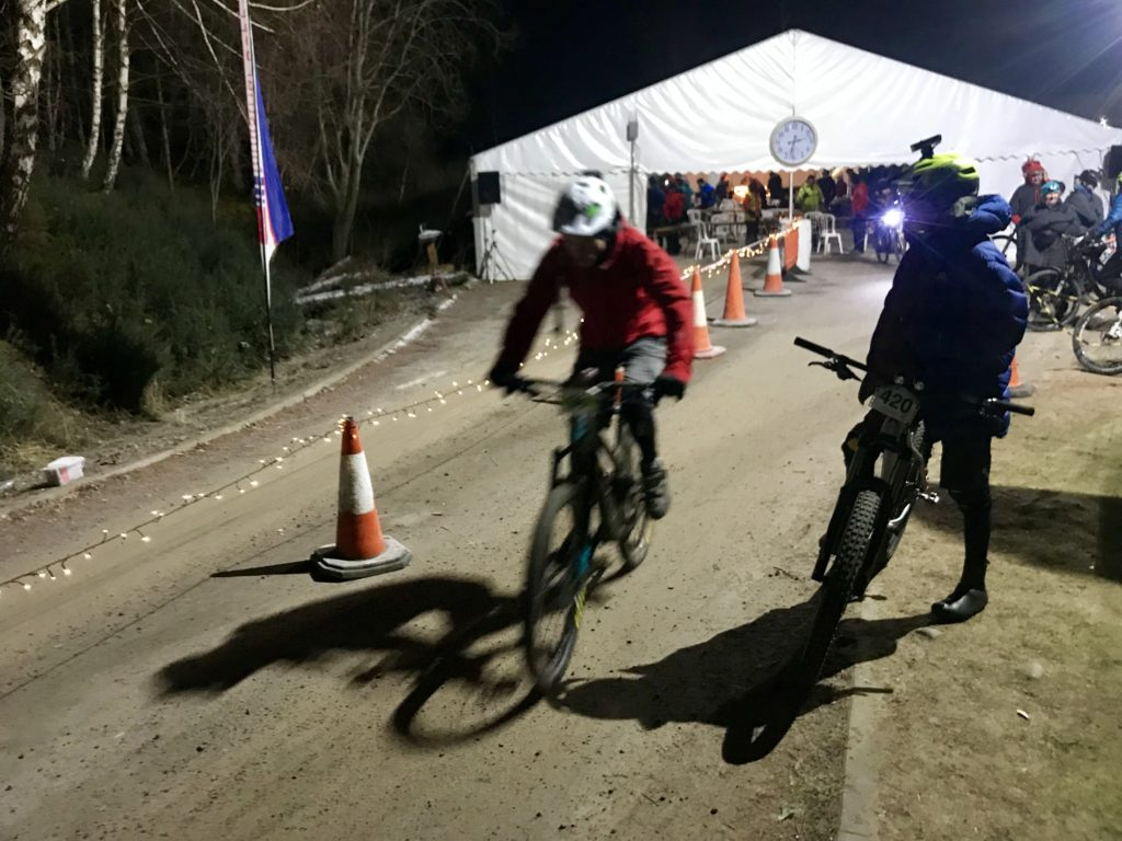 A rider sets off on a night stage of the challenge.