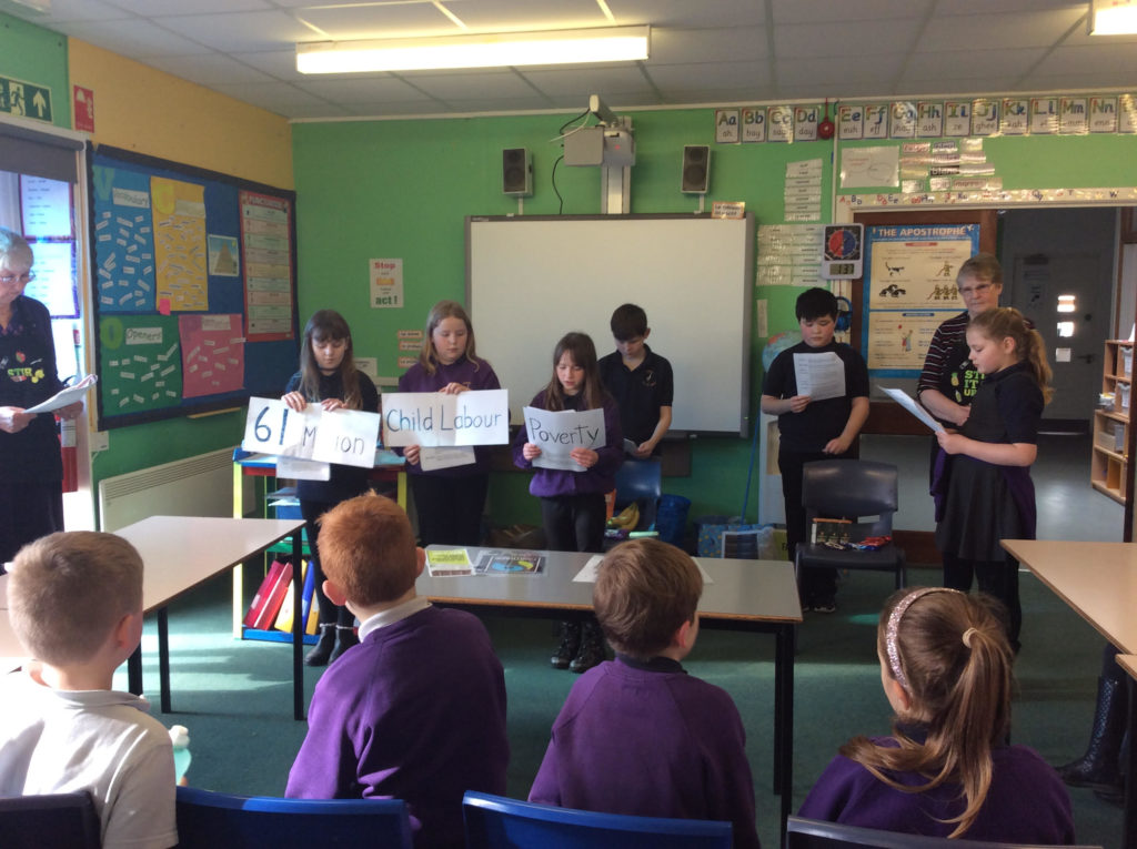 Kilmory Primary pupils take part in an interactive lesson on poverty.