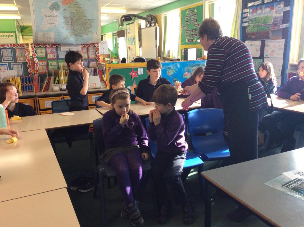 Kilmory Primary pupils enjoy testing the Fairtrade bananas.