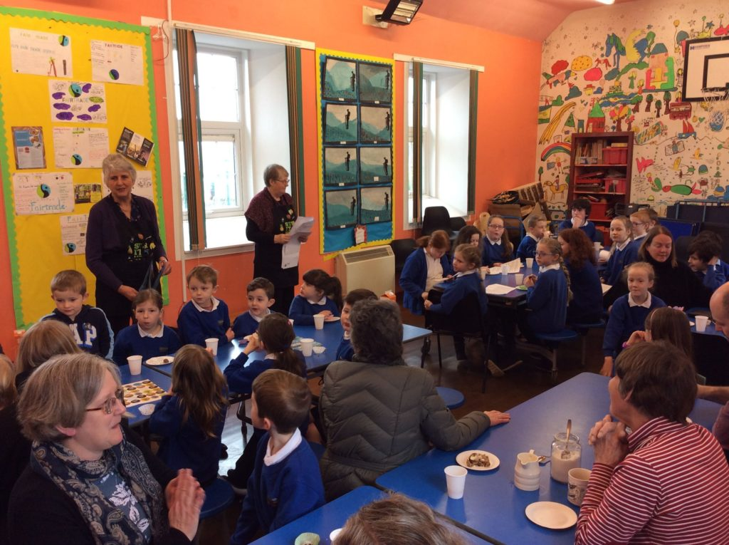 Pupils at Shiskine Primary are joined by parents and teachers during a lesson on Fairtrade.