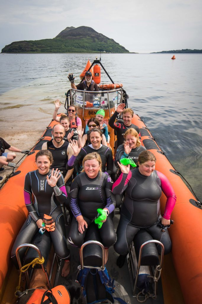 All part of the enjoyment of the Island-2-Island event, entrants enjoy a power boat ride to Holy Isle.
