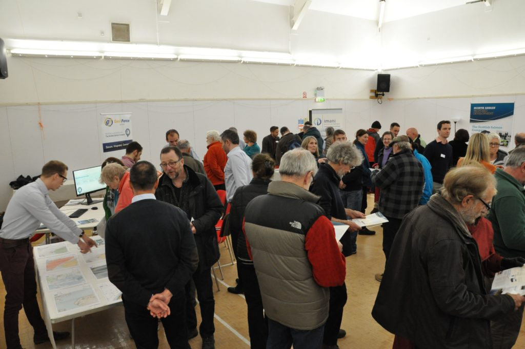 The Lochranza and Catacol village hall continues to fill with over 150 people attending the consultation.