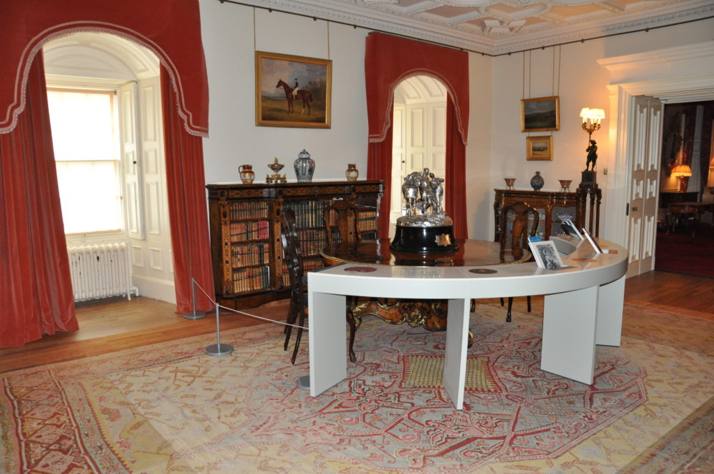 The Goodwood Trophy takes centre stage in the room that was once the library.