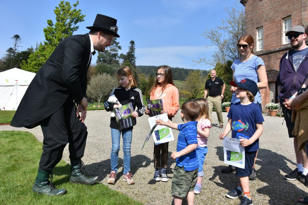 Visitors learn the rules of the egg hunt from Victorian egg hunter Mortimer (Cameron Hall).