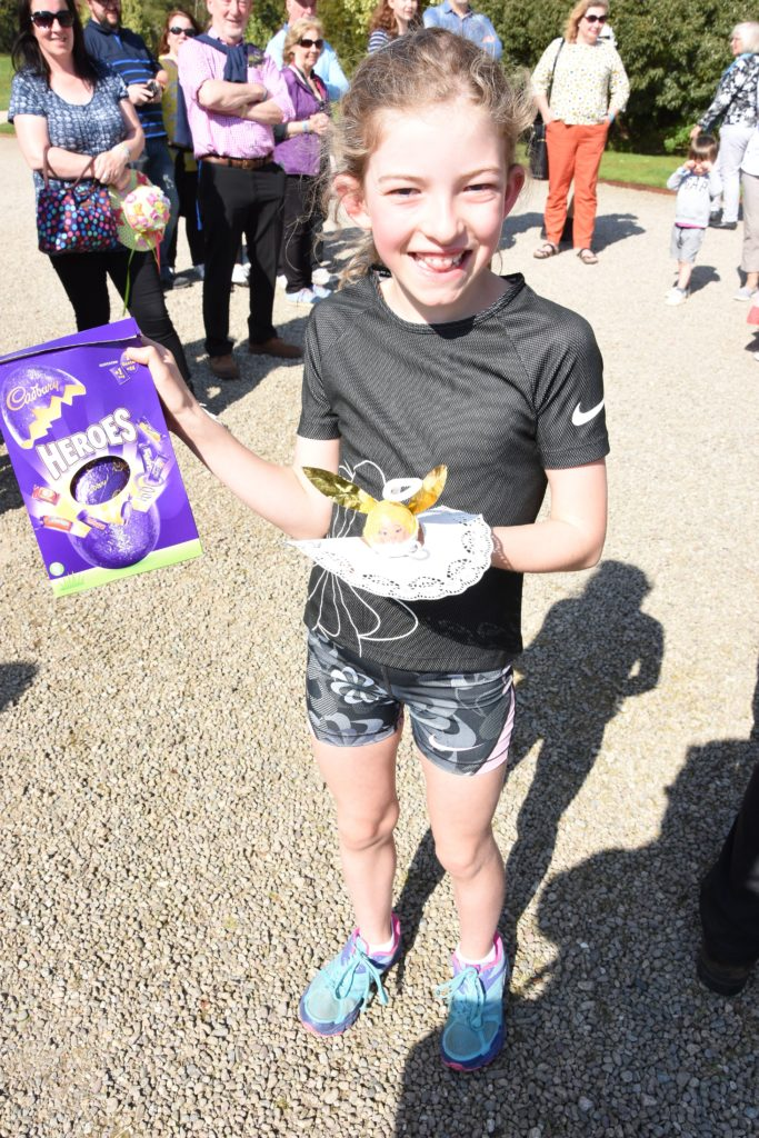 Scarlette Wilson of Blackwaterfoot shows off her winning decorated egg and her prize.