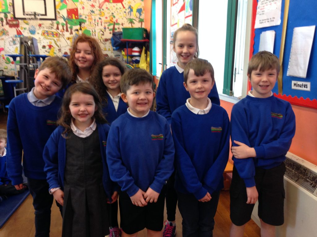 Shiskine school's Eco committee is made up of logo winner Rhea, Cara, Daragh, Eoin, Isaac, Emma, Lisa, Rhea and Euan. Not pictured: Heather and Juniper.