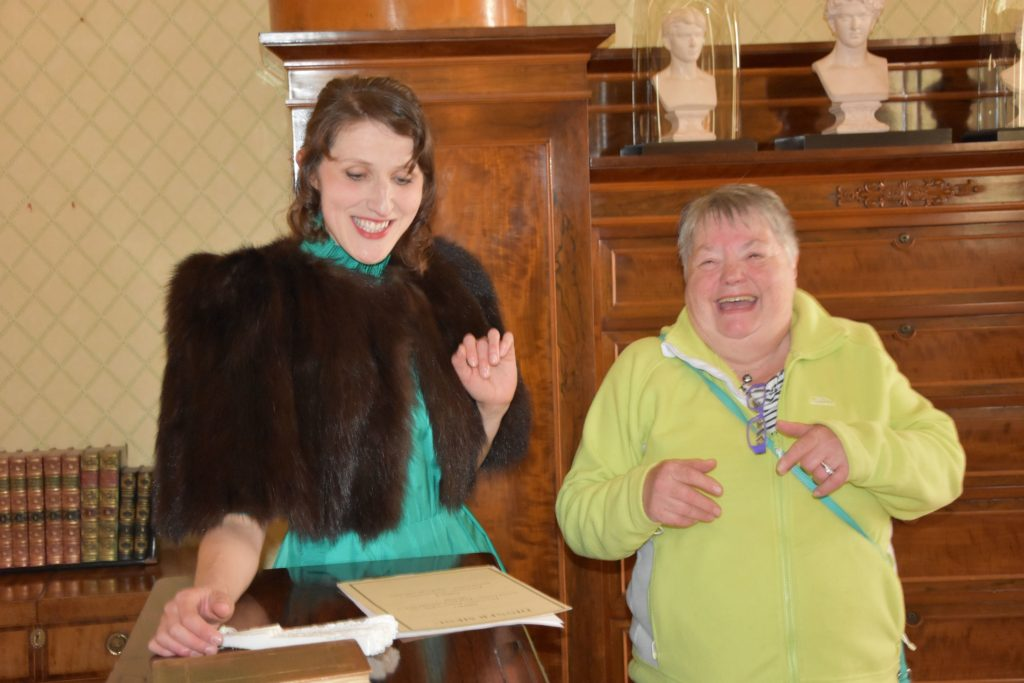 Visitor May Crawford shares a laugh with Princess Marie expertly portrayed by Ruxandra Cantir.