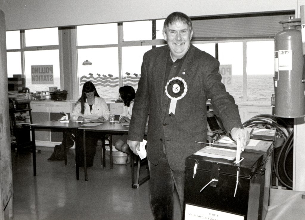SNP candidate in the North Ayrshire elections, Jim Lees, pictured casting his vote at Corrie School, his polling station, on Thursday.