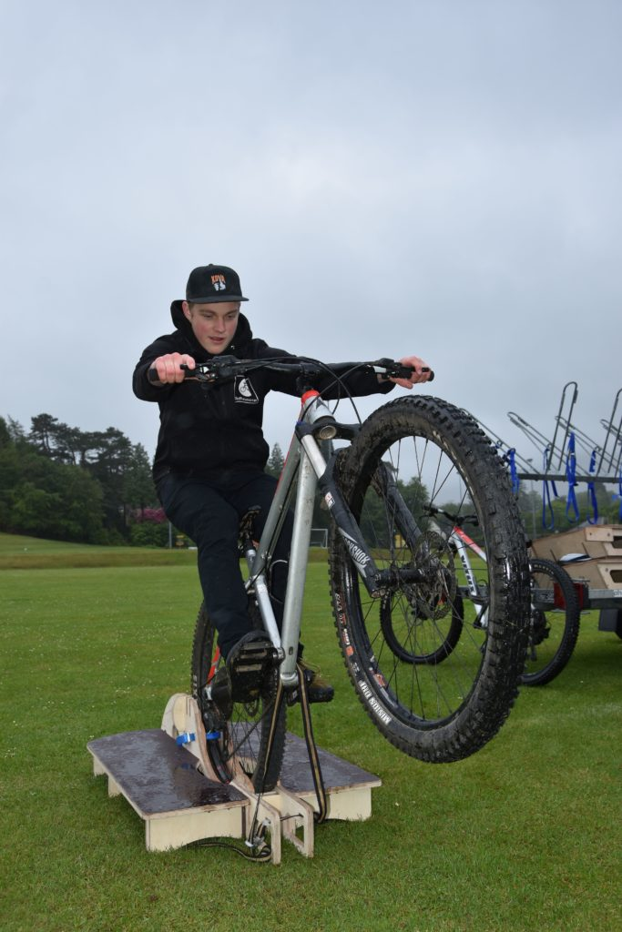 Mountain bike training equipment provided visitors with laughs and a few scares.