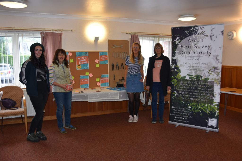 Scoping for plans for a bike tool library were: Emma Tracey - Arran Bike Hire, Helen Ross - Eco Savvy trustee, Jude King - Eco Savvy project manager and Hilary Maguire - Eco Savvy trustee.