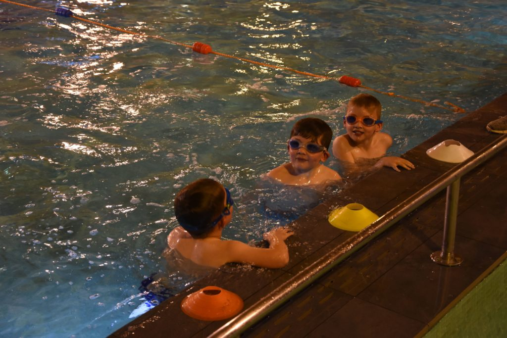 Younger participants swam a breadth of the swimming pool.