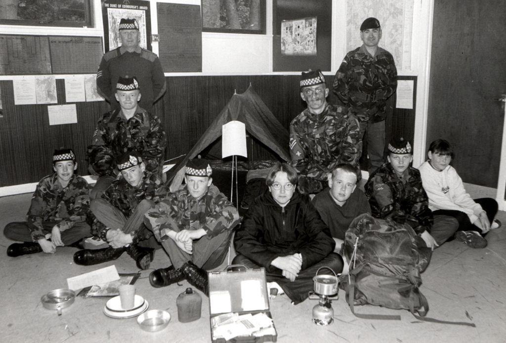 The Arran Cadet Force are, standing, Sergeant Seymour and Sergeant Hamilton. Seated are Grant McQueen, Barry Seymour, William Clark, John Haygarth, Laura McAllister and Andrew Weir.