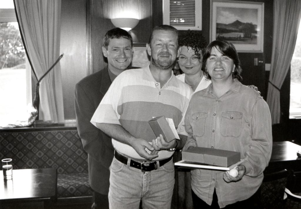 Murray Small, Scottish Oils local manager and Stephanie Dunn pictured with Texas Scramble winners, Iain Sillars and Isobel MacDonald.