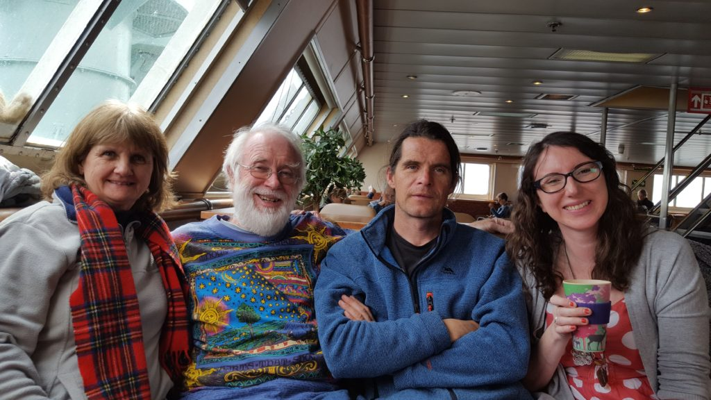 Some of the star studded cast comprising Beverley and Patrick Scott, writer and actor Andy McNamara, and Val Waite who all joined their fellow cast members on the ferry.