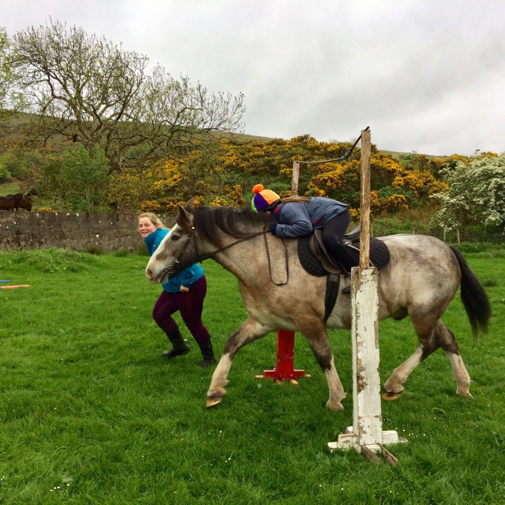 Raffles and Jenny Currie tackle the low branches in style during their TREC session.