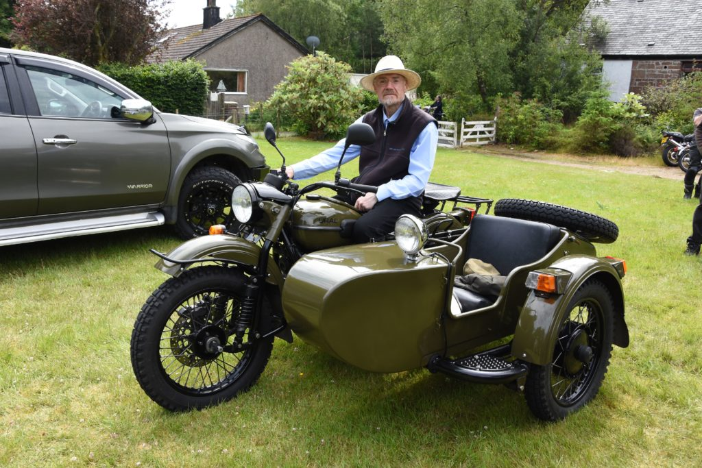 David Robson of Glasgow and High Corrie is pictured on his Russian Ural 750cc with sidecar.