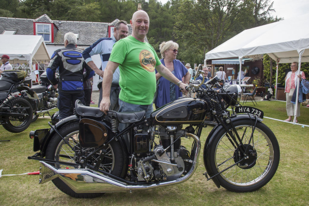 Paul Williams with his 1946 Velocette KSS which won the best in show trophy. Photo: Lenny Hartley/Jingly Jangly Images.