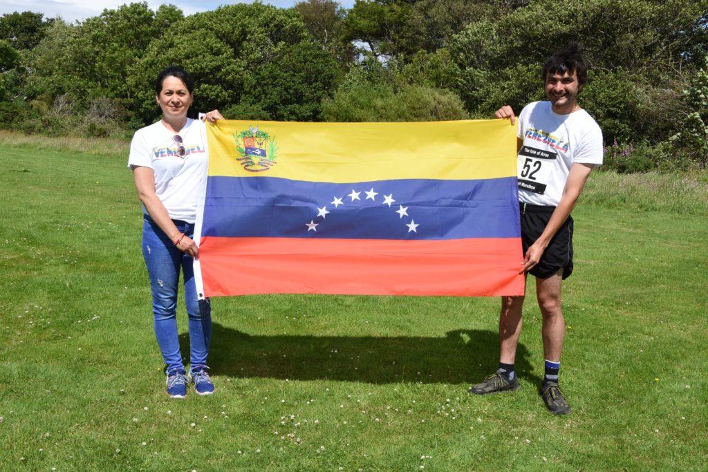 Richard Harris ran the marathon to help raise funds with Rosario Gray of Venezuela who is fundraising for a Venezuelan hospital.