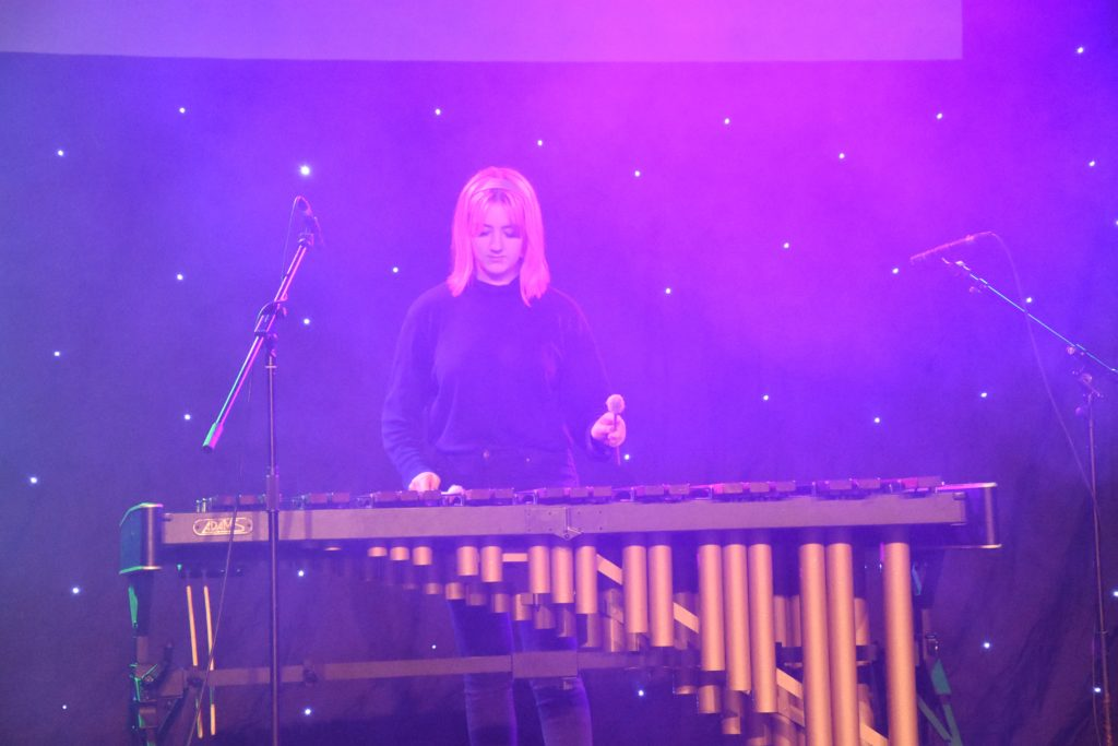 Stella Riddell, on the marimba, performs Tambourin.
