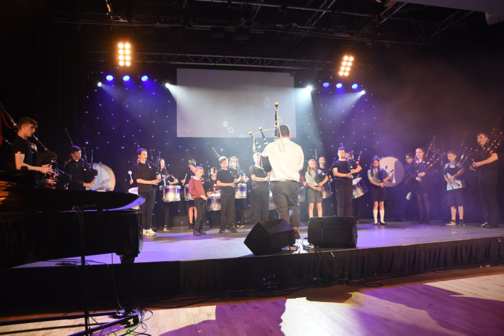 The Arran High School Pipe Band perform Rocking the Baby.
