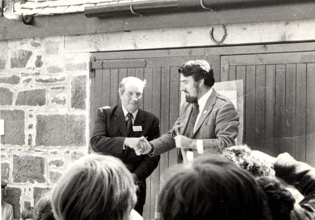 Cunninghame District Councillor Sam Gaw (right) officially opens the museum on Friday July 13, 1979 with museum chairman Donald McNiven.