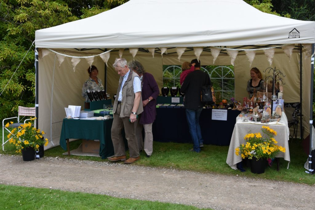 Visitors browse the attractively decorated marquees in the castle grounds.