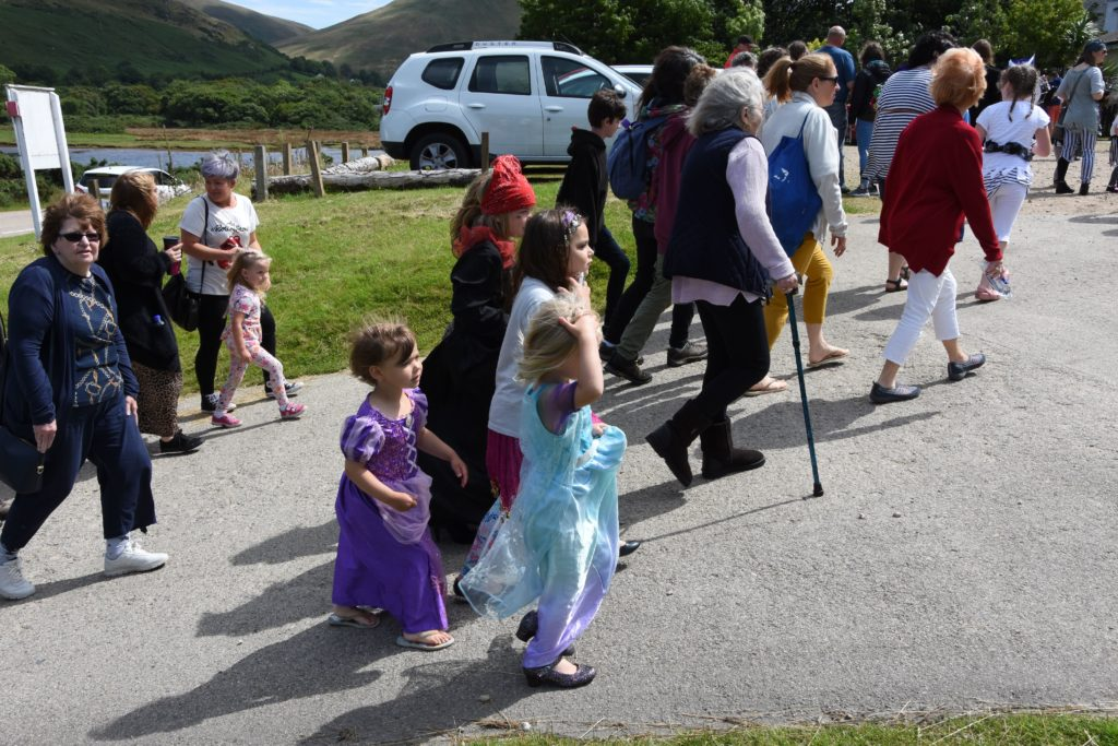 Children arrive dressed as pirates for the fancy dress competition.