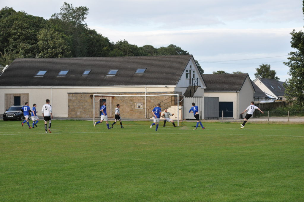 The cross comes in for the second Lamlash goal.