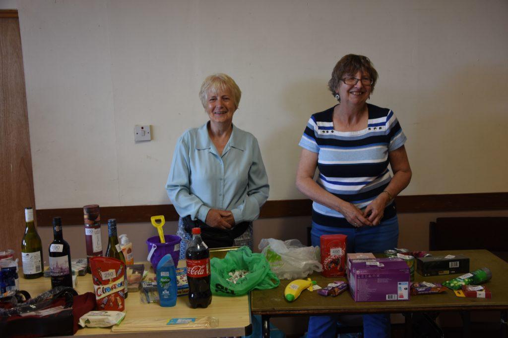 Nancy Macleod and Shauna Lees at the popular tombola stall.